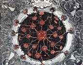 A3 Wissenschaft hist., Geologie, Erddurchschnitt mit Zentralfeuer, Feuerherden,Vulkanen,nach´Mundus subterraneus´v.Athanasius Kircher,1665 Erde, Feuer...