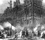 Frankreich hist.- Politik, Staatsstreich vom 2.12.1851 durch Präsident Louis Napoleon Bonaparte, Soldaten lagern vor dem Hotel de Ville, zeitgen. brit...