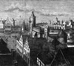 Deutschland hist., Berlin, Handel, Märkte, Molkenmarkt um 1380, Freie Darstellung von E. Müller 1883 (Ausschnitt),  roland links im bild ist verscholl...