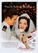SG hist., Werbung, Kosmetik, Makeup, Maybelline Eye Make-Up, ´Happy the Bride with Lovely Eyes´, Zeitungsanzeige in englischer Sprache, 50er Jahre mak...