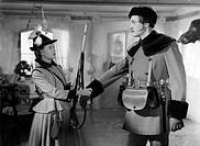 Film, ´Die Försterchristel´ Regie: Arthur Maria Rabenalt, Szene mit Johanna Matz u. Karl Schönböck BRD 1952 büchse gewehr jäger frau förster