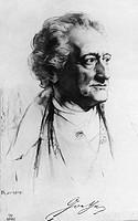Goethe, Johann Wolfgang, 28.8.1749 - 22.3.1832,  deut. Dichter, Porträt, Halbprofil, lavierte Zeichnung von Rumpf, Anf. 19. JH.  deutsche Literatur, S...