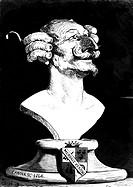Münchhausen, Karl Friedrich Hieronymus Freiherr v., 11.5.1720 - 22.2.1797, Offizier und ´Lügenbaron´, Holzschnitt von Gustave Dore nach Büste v. Canov...