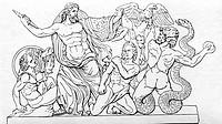 Zeus (lat. Jupiter),  griech. Göttervater, ´Der Pergamonaltar´, eine ergänzte Zeichnung aus dem Fries der Zeusgruppe,  Schlange, Raubvogel, Gottheiten...