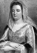 sw  Maintenon, Francoise d´ Aubigne, frz. Marquise, 27.11.1635 - 15.4.1719, Mätresse & morganatische Ehefrau v.Ludwig XIV.v. Frankreich, Brustbild, Or...