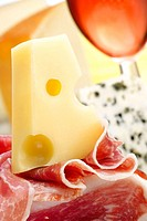 Cheese, ham and wine