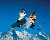 action, couple, Dynamic, fun, joke, jump, mountains, ski, skiing, sky, snowboard, sports, Two, winter sports, Switze