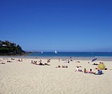 bathing, beach, Brittany, coast, Dinard, folks, France, Europe, Ille et Vilaine, people, person, sea, seashore