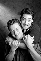 Studio portrait of a gay couple