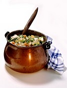 Witch´s stew - vegetable stew in small copper cauldron