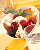 Fruit salad with yoghurt and cinnamon
