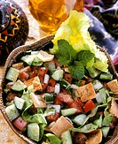 Mexican vegetable salad with croutons