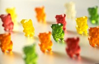 Lots of gummi bears, standing