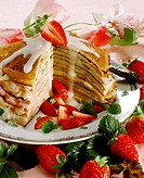 Austrian filled pancakes with strawberry & vanilla mousse