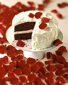 Red Velvet Cake with Rose Petals
