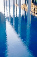 reflections in a pool at Music Center, Los Angeles, California, USA