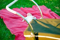Baby chilling out on pink throw