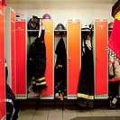 Lockers at a fire station