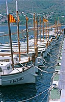 Traditional Catalan boats. Port de la Selva, Costa Brava. Girona province, Spain