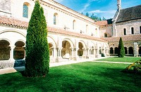 Fontenay Abbey, the cistercian cloister and inner garden. Burgundy. France