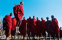 Masai men at the edge of the Ngorongoro. Tanzania