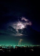 Environment & Nature, Weather, Lightning, City at night