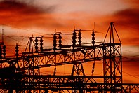 Industry, Electricity, Pylon, Sunrise, Substation electricity