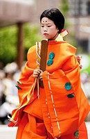 Procession of 'Aoi matsuri' festival in Kyoto, one of the oldest festivals in the world. Participants are dressed as court nobles of the Heian period ...