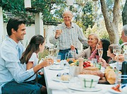Grandfather toasting His Family at a Meal Outdoors in a Garden