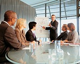 Businessman Pointing at a Flip Chart in a Conference Room With a Felt Tip Pen