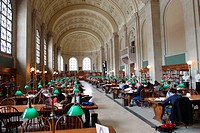 Grand Hall at Boston Public Library. Boston. Massachusetts, USA
