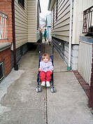 Toddler in a stroller in Windsor. Ontario, Canada