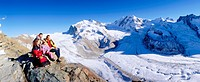 10651529, alpine, Alps, mountains, Dufourspitze, family, rock, cliff, glacier, Monte Rosa, panorama, Switzerland, Europe, sit,