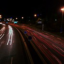 Freeway at night with light trails, elevated view, long exposure