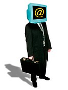 Computer businessman. Computer illustration of a businessman with a computer monitor for a head, to represent the use of computers in business. The mo...