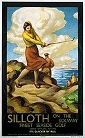 London & North Eastern Railway poster advertising 'Finest Seaside Golf', showing a woman taking a golf shot on sand dunes. Artwork by Stanislaus Brien...