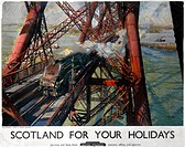 Poster produced for British Railways (BR), showing the Gresley A4 Class Pacific Plover locomotive crossing the Forth Bridge in Scotland. Artwork by Te...