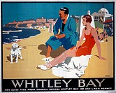 Poster produced for London & North Eastern Railway (LNER) to promote rail services to Whitley Bay, Tyne and Wear. The poster shows a couple relaxing o...