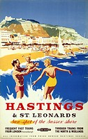 Poster produced for British Railways (BR) Southern Region to promote rail travel to the East Sussex seaside resorts of Hastings and St Leonards. The p...