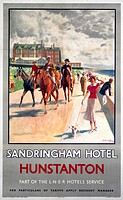 London & North Eastern Railway poster showing horses and riders on the promenade, with the hotel in the distance. Artwork by Michael.