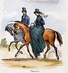 Vignette from a lithographic plate showing a couple riding. The woman is riding side-saddle. Taken from ´The Horse´ in ´Graphic Illustrations of Anima...
