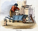 Vignette from a lithographic plate showing a man weighing dog meat for sale surrounded by the cats and dogs of the neighbourhood. Taken from ´The Hors...