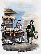 Vignette from a lithographic plate showing a vendor at a stall selling fowl. Taken from ´The Swan, Goose and Duck´ in  ´Graphic Illustrations of Anima...