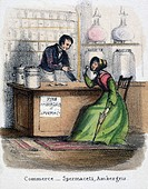Vignette from a lithographic plate showing a woman purchasing cosmetic ingredients in a pharmacy or chemists. Taken from ´The Whale´ in ´Graphic Illus...