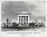 Engraving by H Bond. Carriages are shown approaching the huge doric arch, designed by Philip Hardwick and built in 1838, at the entrance to the railwa...