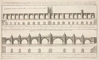 Engraving by B Cole of plans submitted by Charles Labelyne for the reconstruction of London Bridge, involving the removal of houses from on top of the...