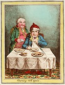 Hand-coloured caricature after James Gillray (1757-1815), showing a wealthy man recovering from illness sitting at a table eating and drinking whilst ...