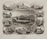 Print illustrating various buildings in Aachen, including the Burtscheid viaduct, the Geul viaduct, the belvedere, the town hall, the railway station,...
