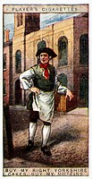 A street hawker in a breeches and stockings, necktie, cap and apron with a basket of cakes over his arm outside a church-like building. Number 21 in t...