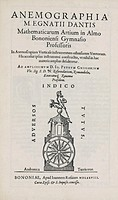 Title page to 'Anemographia' by Ignazio Danti (1536-1586) published in Bologna in 1578. An anemometer is used to measure wind velocity.